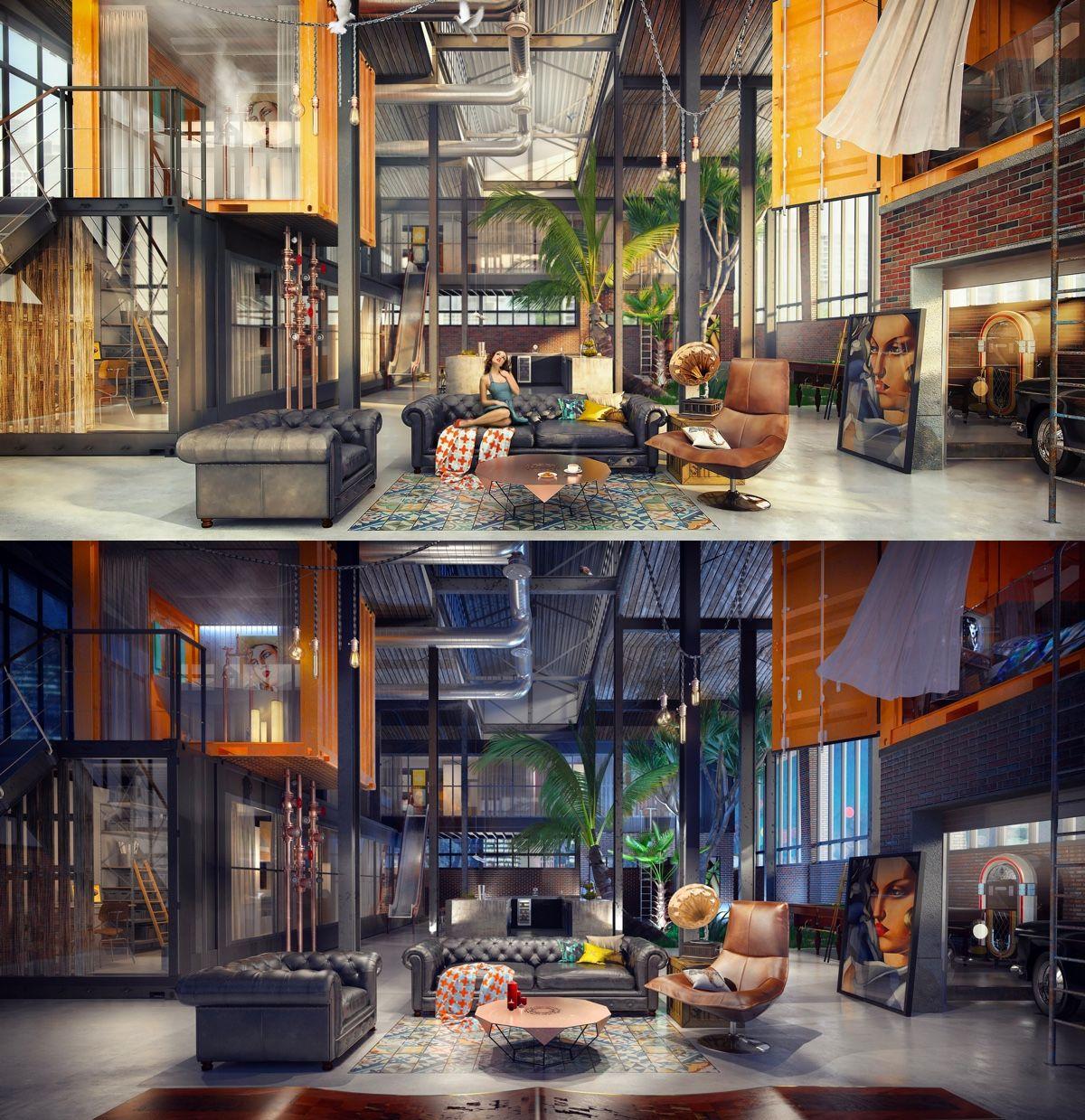 Industrial Loft: Loft Living Room Design With Modern Industrial Style