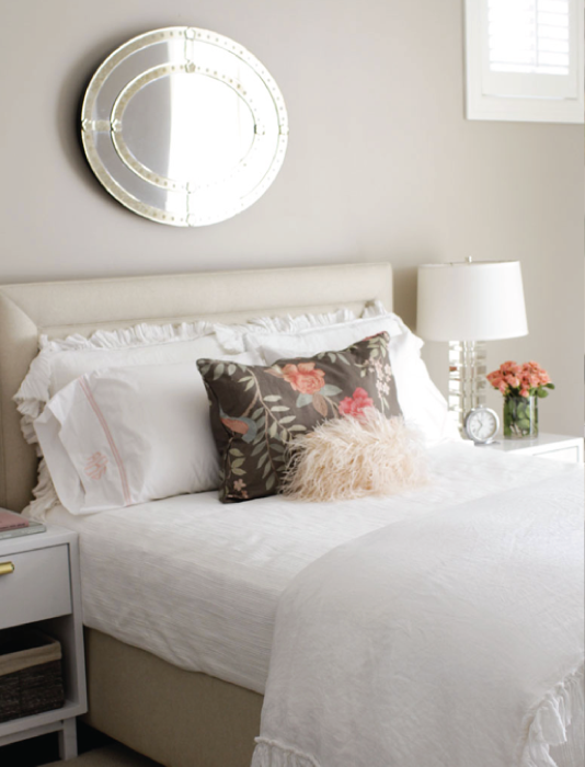 Taupe Bedroom Ideas: Stunning Bedroom With Oval Shaped Venetian Mirror Hung