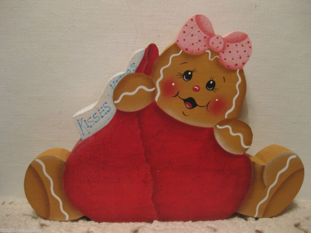 HP Gingerbread kisses Valentines candy shelf sitter hand painted