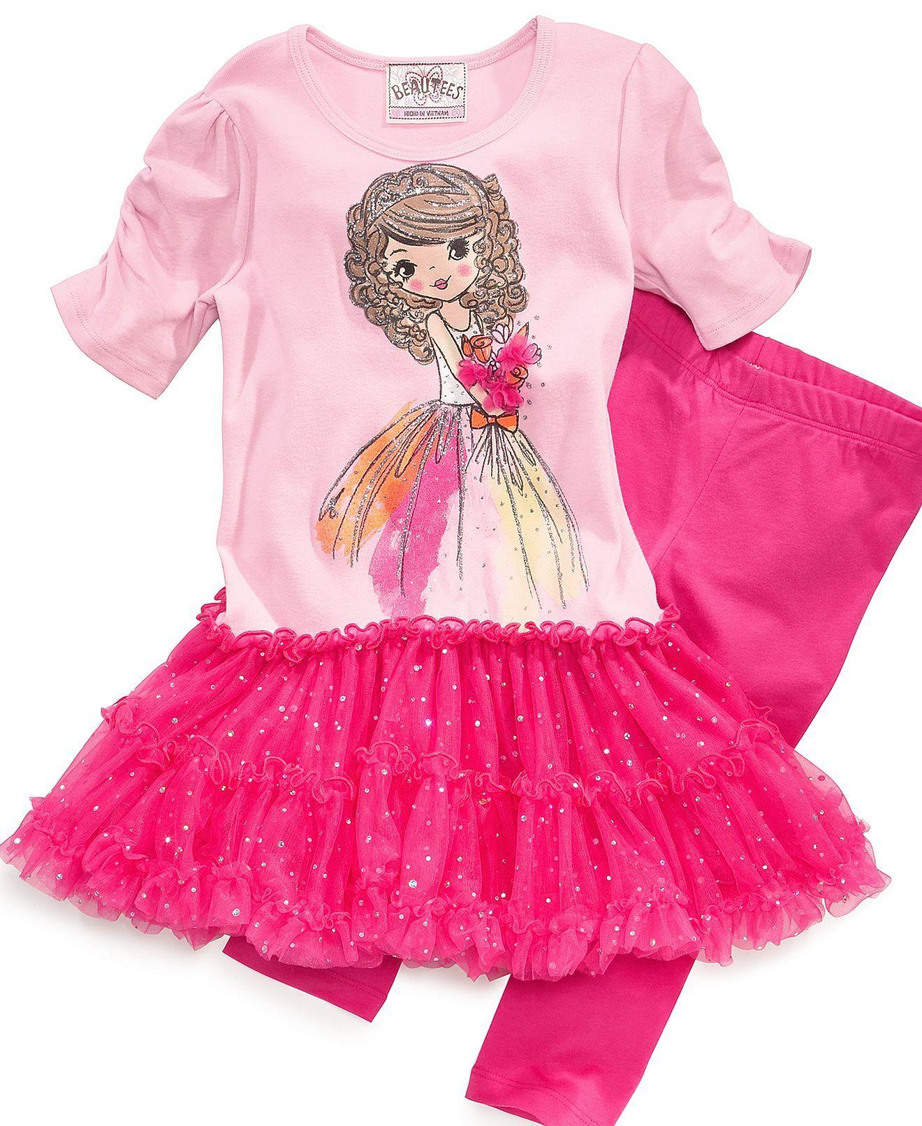 e24a02df32cbb Beautees Kids Set, Little Girls Tutu Dress and Leggings - Kids - Macy's