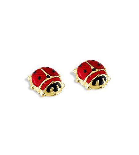 f54e2b52f 14k Yellow Gold Ladybug Red Black Enamel Stud Earrings VistaBella. $65.99