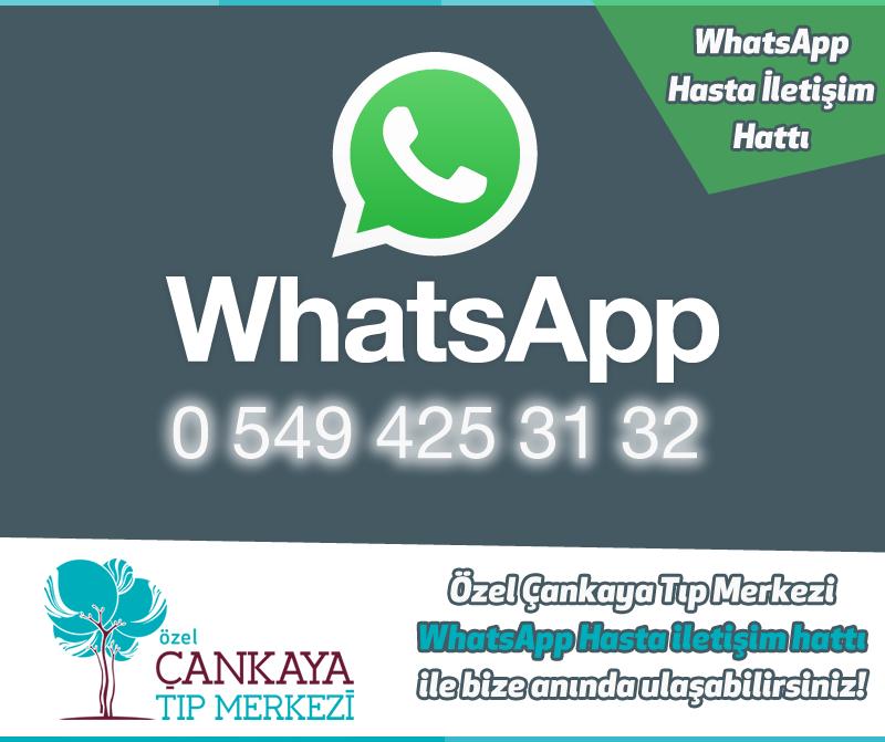 """Özel Çankaya Tıp Merkezi """"WhatsApp Hasta İletişim Hattı"""" ile bize anında ulaşabilirsiniz. Hemen rehberinize 0 549 425 31 32 WhatsApp numaramızı ekleyin bizimle anlık olarak irtibata geçin!"""