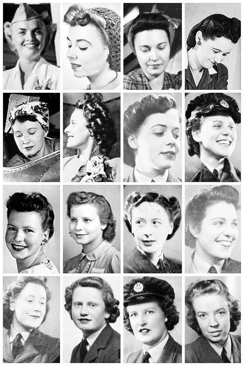 A collection of WWII photographs, depicting some of the hairstyles ...