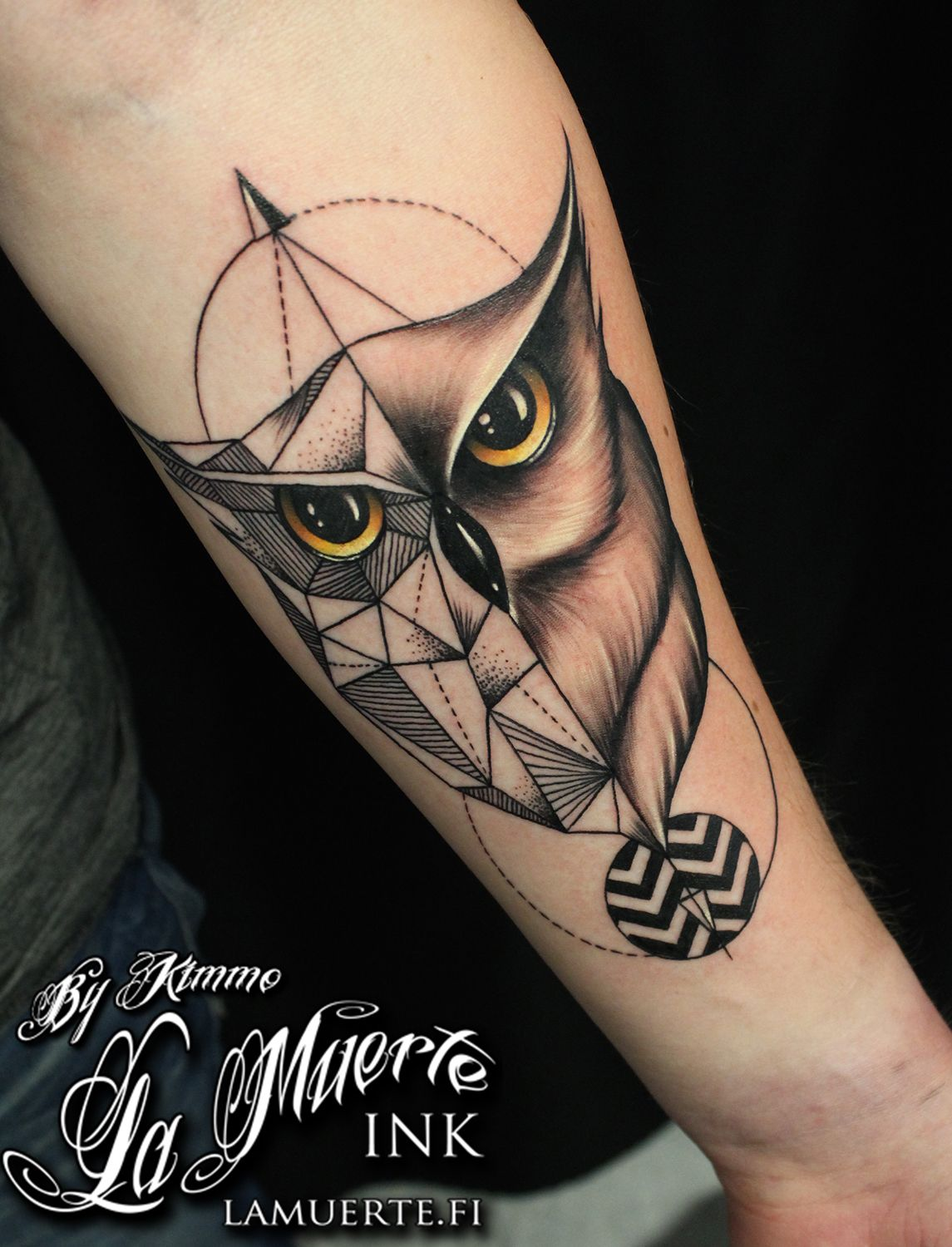 geometric owl tattoo by kimmo angervaniva la muerte ink. Black Bedroom Furniture Sets. Home Design Ideas