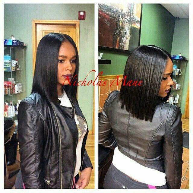 Black Bob With Middle Part Pinterest Tamaracrespo86 Silky Hair Short Hair Styles Hair Styles