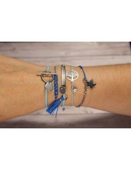 Diy bijoux - Bracelets noeuds coulissants - Bleu