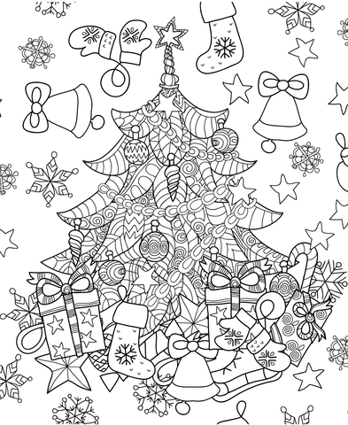 christmas tree zentangle coloring page from zentangle category
