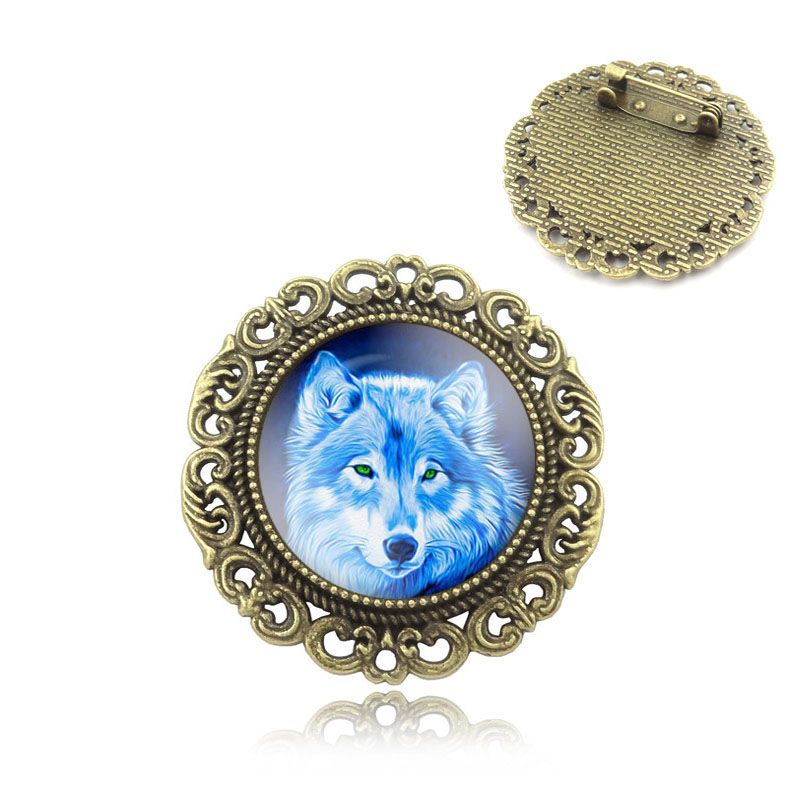 Wolf Art Image Glass Cabochon brooch pins Fashion Handcrafted DIY bronze Vintage brooches for Women Jewelry Gift keepsake