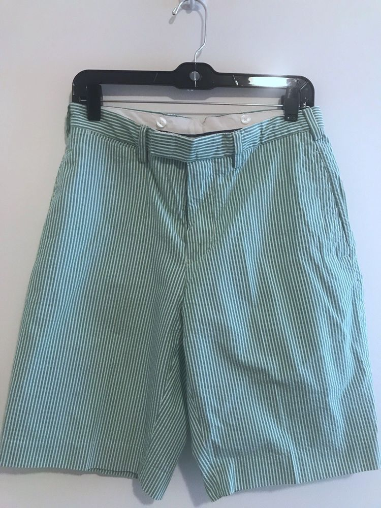 Polo By Ralph Lauren Mens Green Seersucker Shorts Waist Size 30