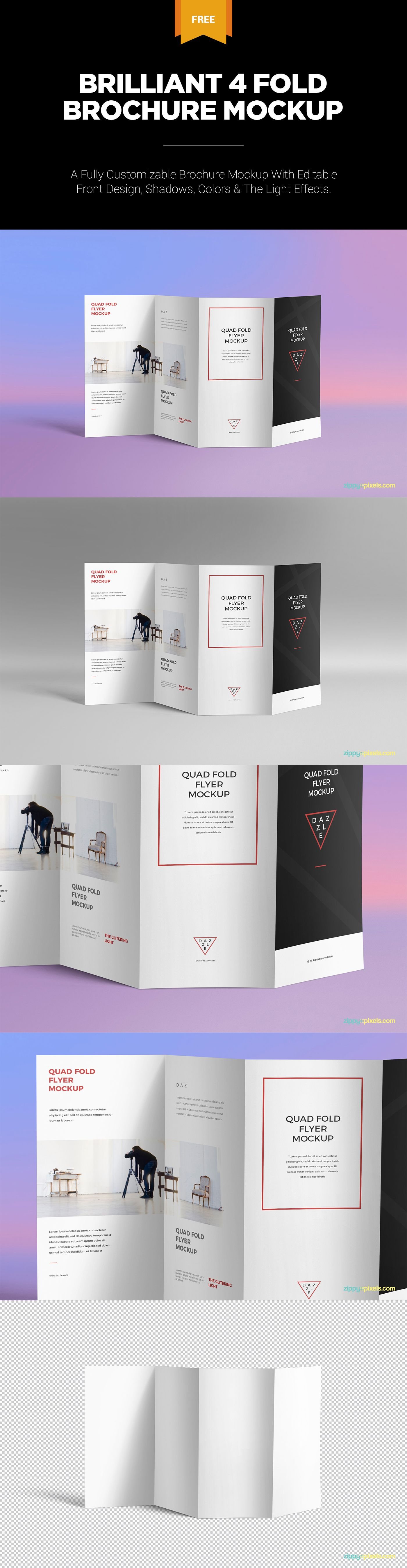 Check Out This Excellent Brochure Mockup Which Provides You Endless Customizations Free Freebie Flyer Psd Photoshop Quad Fold