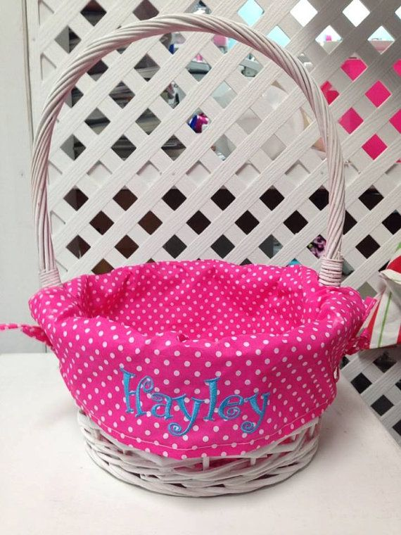 Personalized easter basket white polka dot by robinsembroidery easter negle Image collections