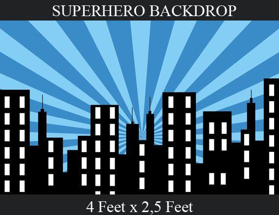 Superhero Background - SUPERHERO Birthday Party - City Scape Background - Backdrop - Superhero Party Printables  - Instant Download
