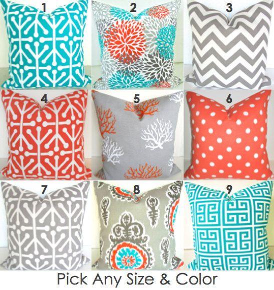 Pillows Teal Throw Pillows TEAL Orange Grey Decorative Pillow Covers 18x18  16x20 Lumbar Turquoise Gray Outdoor