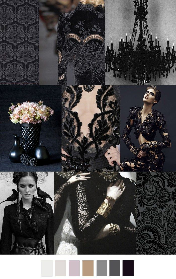 F w 2017 2018 pattern colors trends black brocade for Farbmuster wohnzimmer