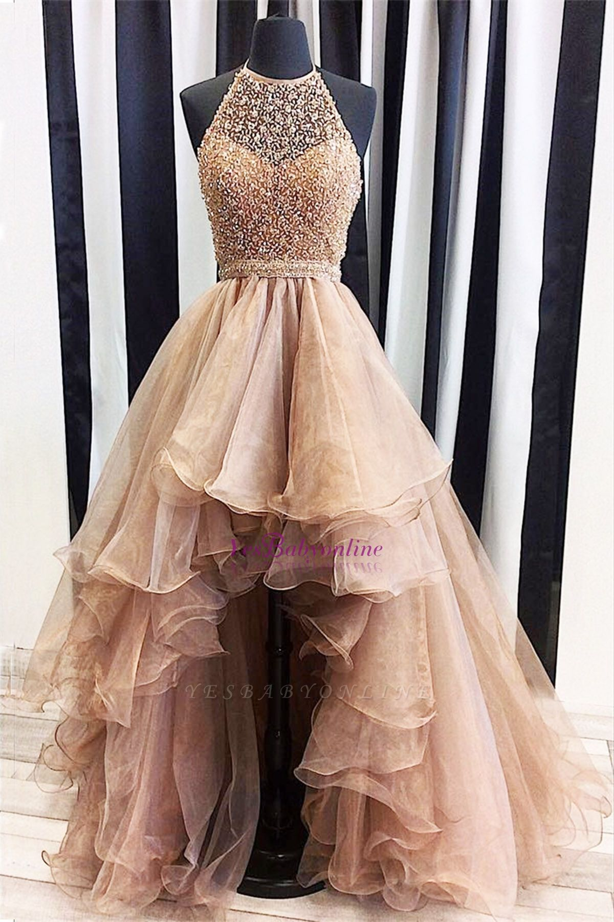 Prom Dresses Low Halter Beading A-Line Brilliant High Evening Dresses – DRESSES