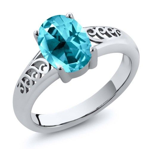 a7cdd3c14 2.00 Ct Paraiba 925 Sterling Silver Ring Natural Topaz Cut by Swarovski,  Women's, Size: 8