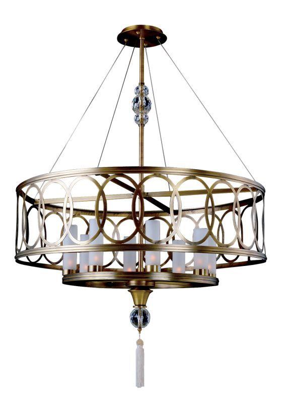 Kalco 2790ab antique brass dorrit 8 light drum pendant