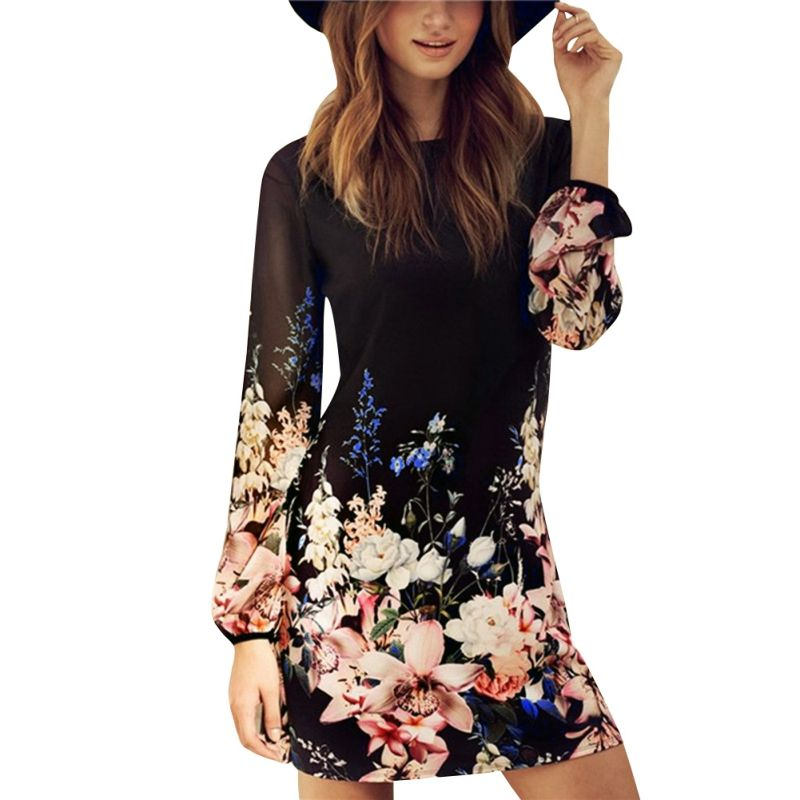 Women Spring 2017 Summer Chiffon Shift Dresses Black Long Sleeve Floral  Print Round Neck Mini Dress d4f10593f