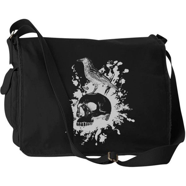 Gothic Poe Raven Nevermore Canvas Laptop Bag Messenger Bag (£36) ❤ liked on Polyvore featuring bags, messenger bags, goth messenger bag, laptop courier bag, skull messenger bag, flap messenger bag and canvas bag