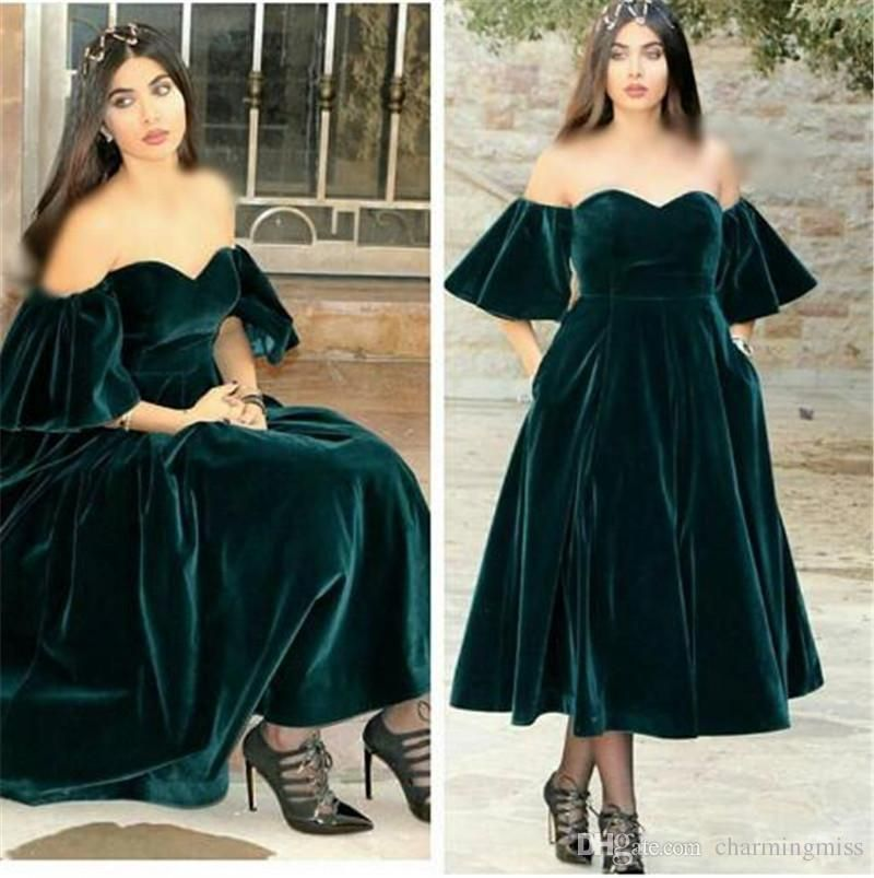 Dark green velvet plus size evening dress 2017 vestido de
