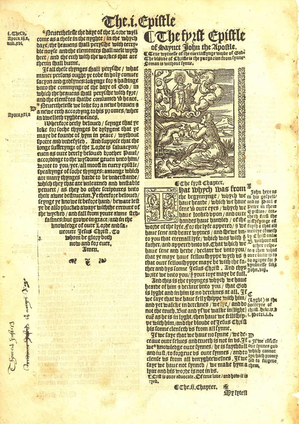 1537 Matthew-Tyndale Bible First Edition : Title to First John