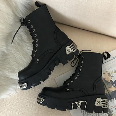 Punk Style Platform Women Ankle Boots Women's Motorcycle Boot Fashion Ladies Chunky Shoes Metal Decor Black BIG size 41 43 44 Ankle Boots – ✨|[Fashionable shoes|]✨