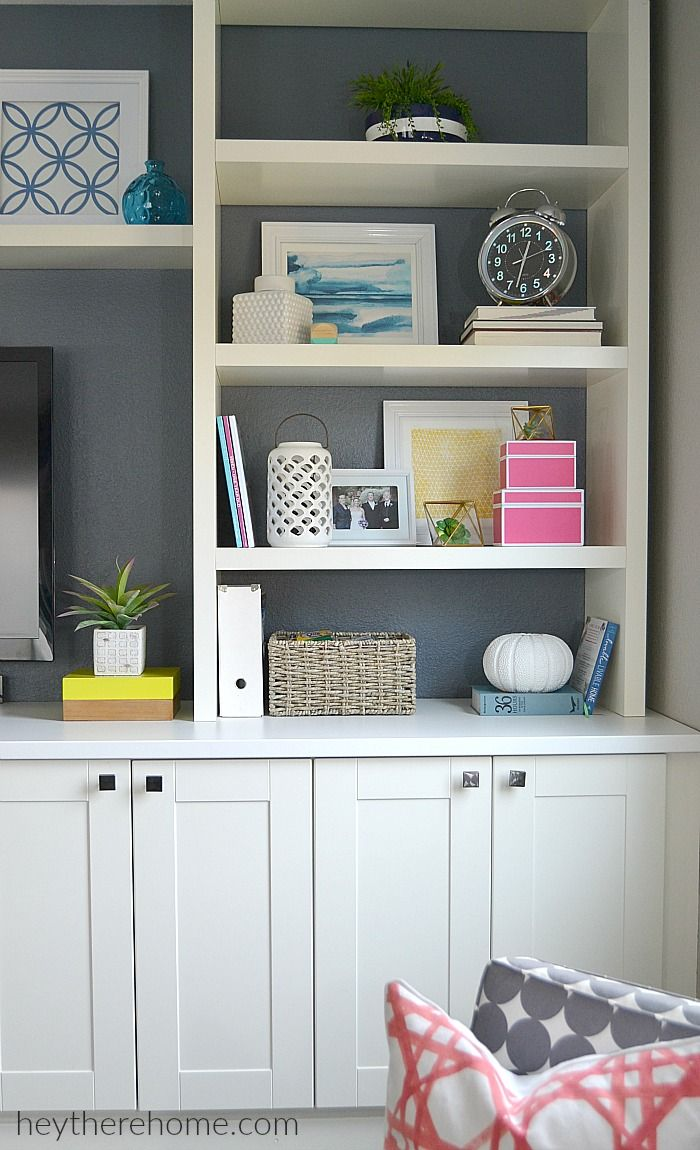 DIY built-in using IKEA cabinets and shelves | Decor ideas ...