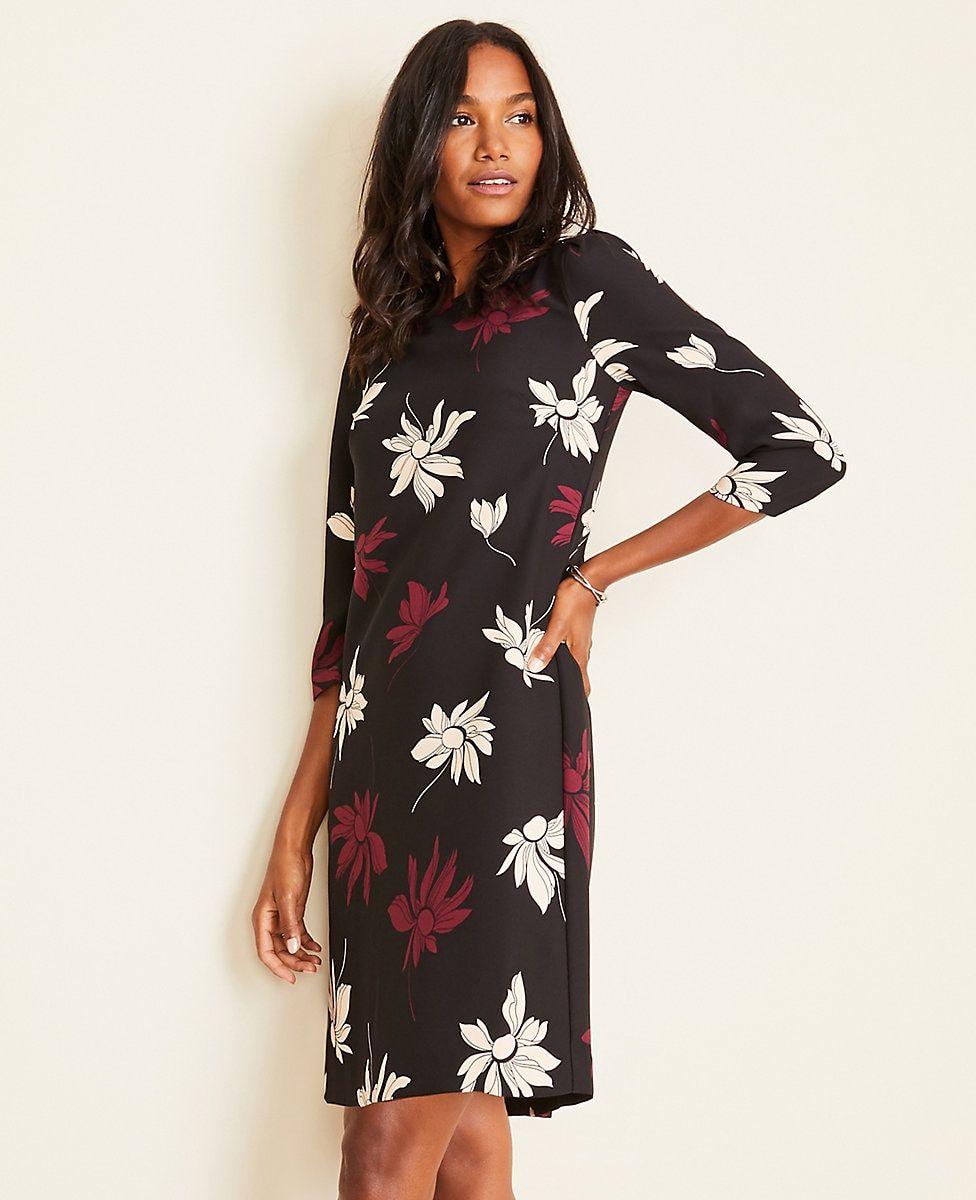 Floral Puff Sleeve Shift Dress Ann Taylor Shift Dress Fashion Dresses [ 1200 x 976 Pixel ]