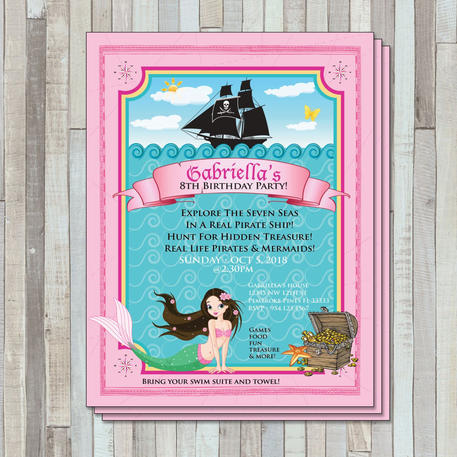 Pirate and Mermaid Birthday Invite by SweetGemCupcakes on Etsy ...