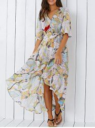 abce3b3035a Bohemian V Neck Printed High Low Chiffon Women s Maxi Dress (COLORMIX