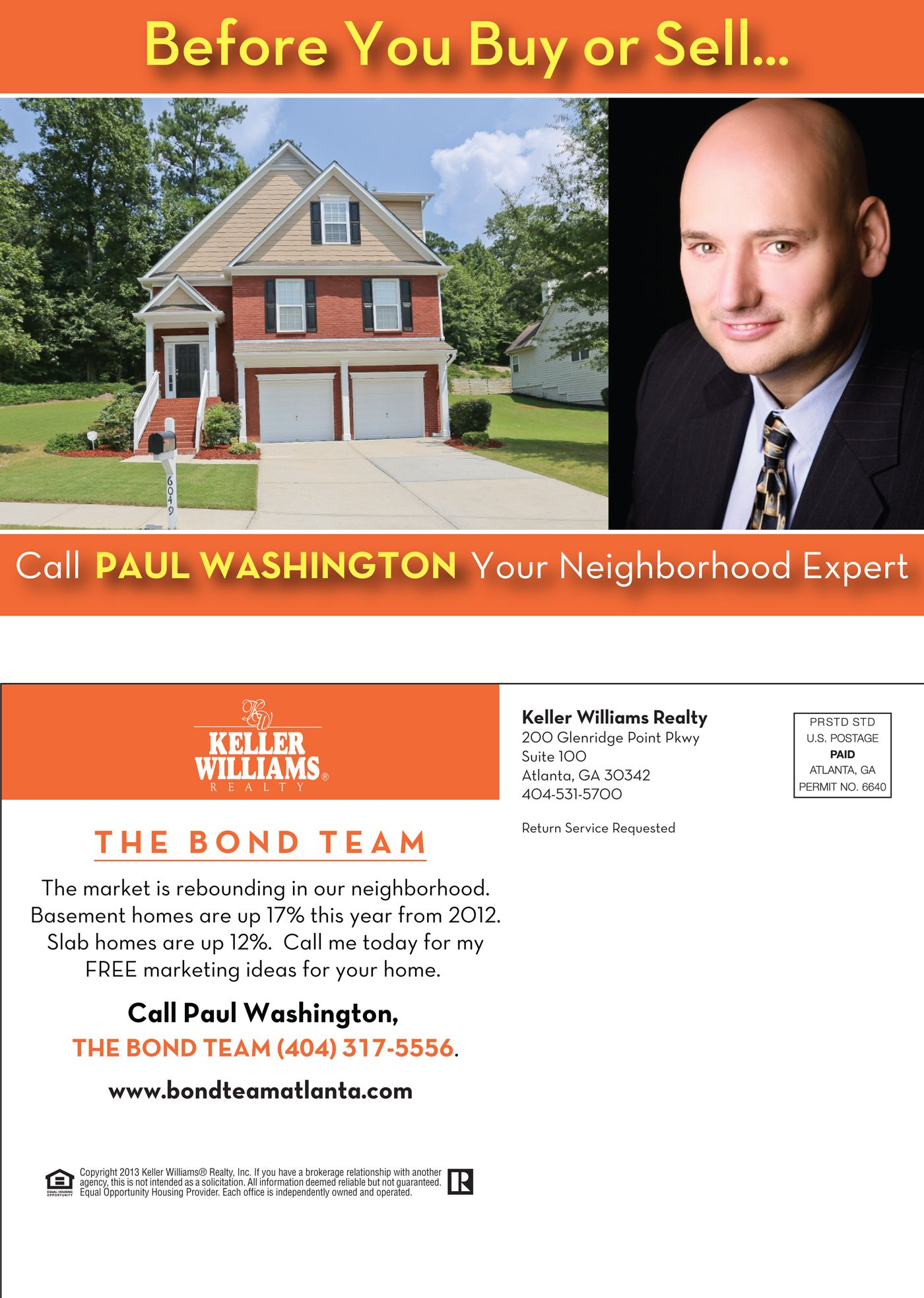 Postcard designed for real estate agents, The Bond Team of Atlanta ...
