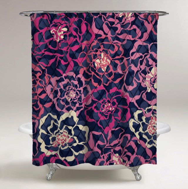 New Vera Bradley Katalina Pink Custom Design Print On Shower Curtain 60 X 72 Unbranded Modern Fashion Style Pattern