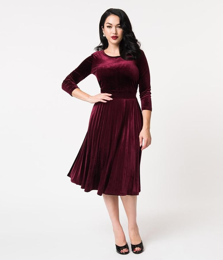 f37ade671e59 Retro Style Bordeaux Velvet Pleated Sleeved Swing Dress