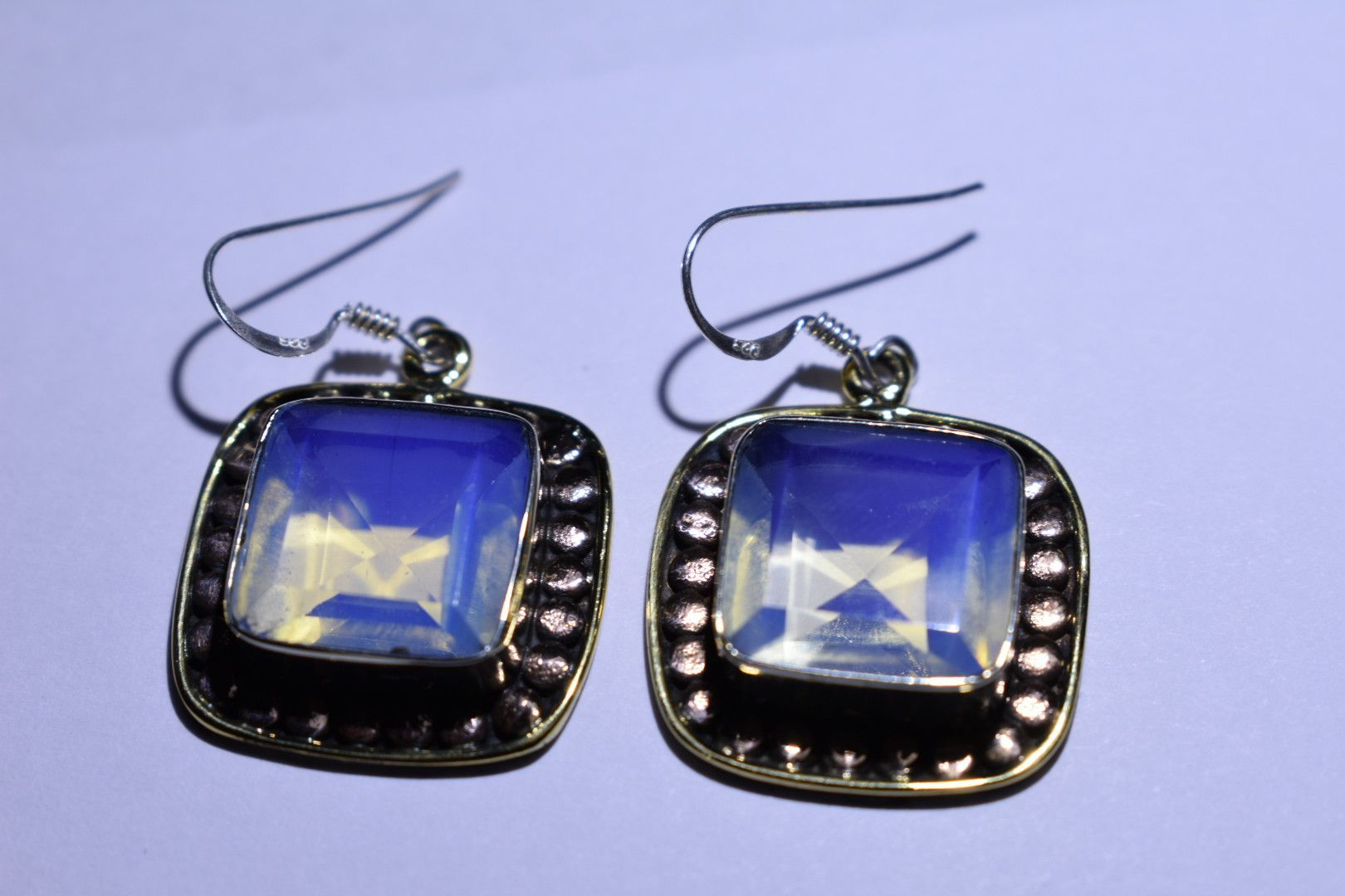 """Light Blue Square Faceted Cut .925 Sterling Silver Earrings 1 1/2"""""""