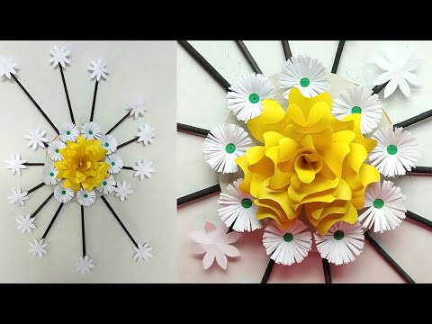 28 Paper Flower Wall Hanging Easy Wall Decoration Ideas Paper Craft Diy Wall Decor 2 Youtube Hanging Flower Wall Paper Flower Wall Paper Crafts