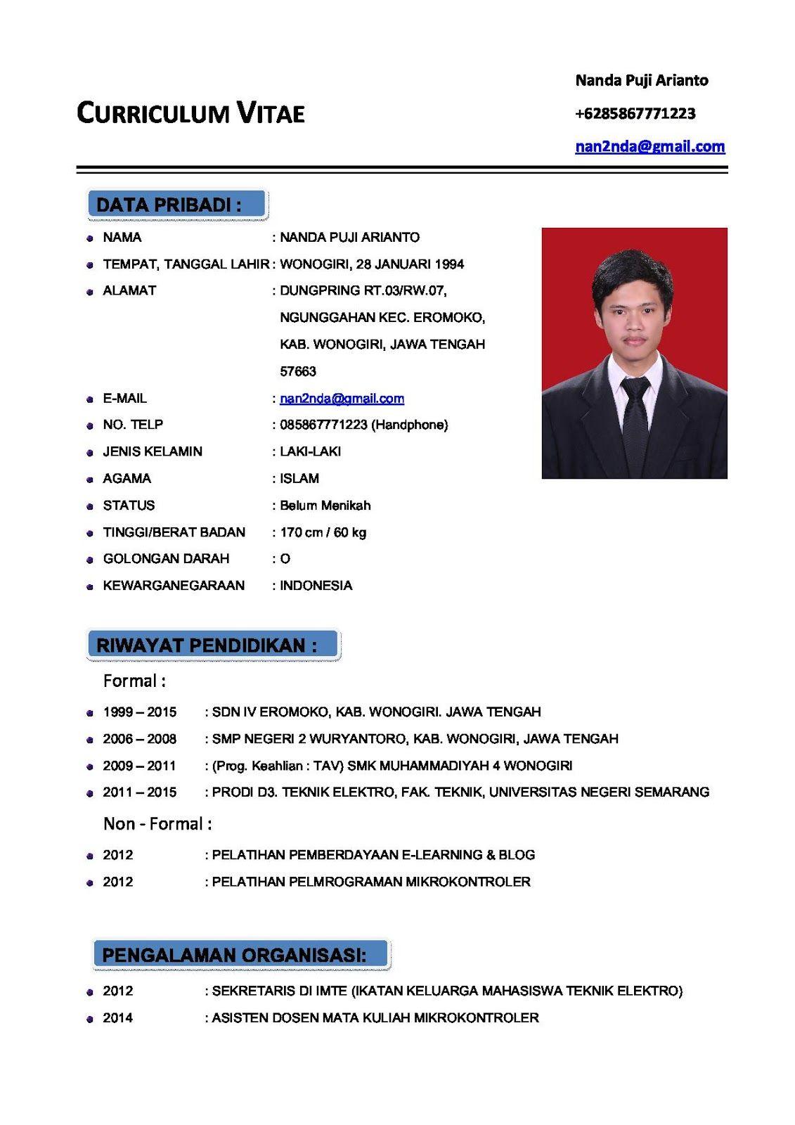 Contoh CV (Curriculum Vitae) atau Daftar Riwayat Hidup