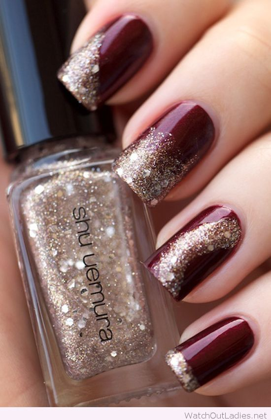 Burgundy and gold glitter Christmas nails | Nails ...