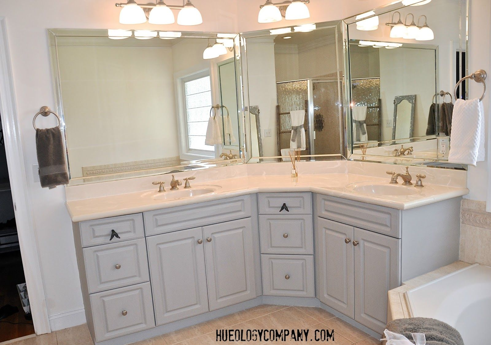 Bathroom Cabinets painted with Paris Grey Chalk paint and Artisan Enhancements Clear Top Coat