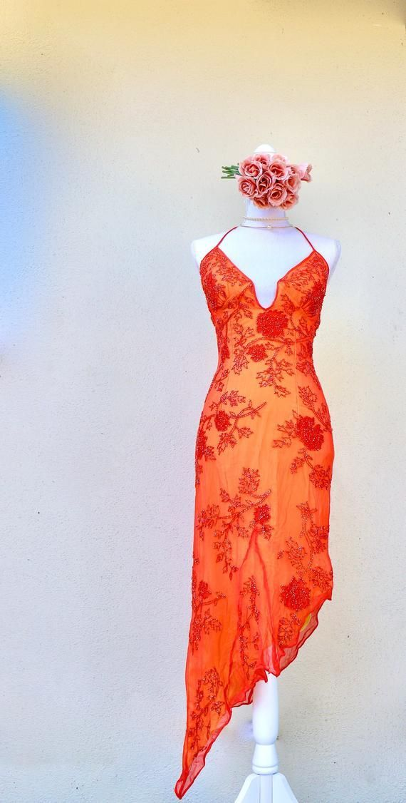 Vintage Silk Dress 1990s to Y2K - Formal - Prom - Orange - Beaded Floral - Halter Top - Asymmetrical    You finally found the perfect silk dress - the one that you've always envisioned, come to life right when you in the boutique window. Silk is a great fabric for the warmer months o... #1990s #beaded #dress #floral #Formal #Halte #Orange #Prom #Silk #silk dress chic #silk dress midi #silk dress outfit #silk dress vintage #silk prom dress #silk skirt outfit #silk wedding dress #Vintage #y2k