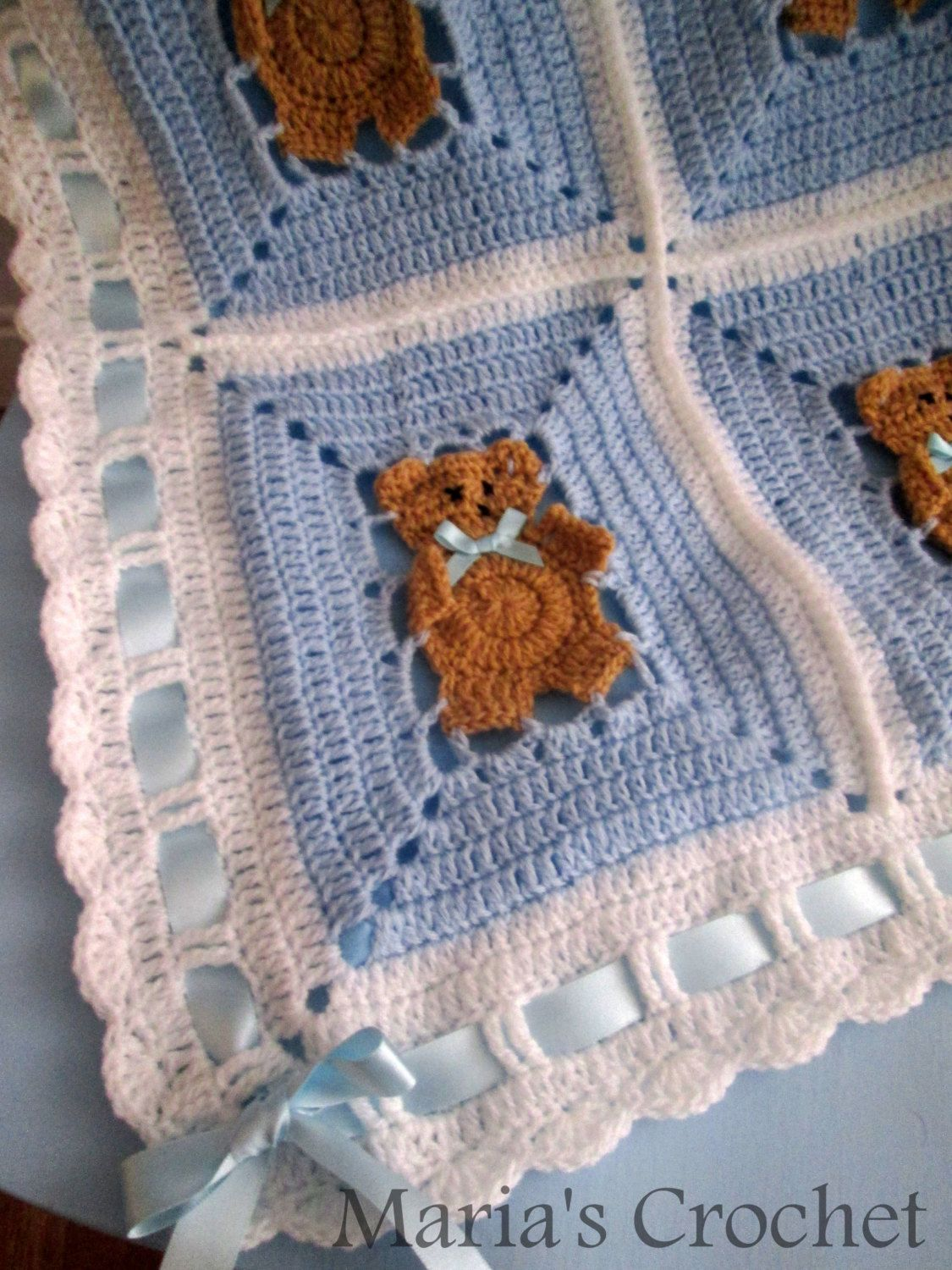 Crochet Pattern Afghan Blanket teddy bear UK by mariascrochet21 ...