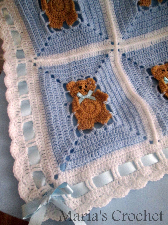 Crochet Pattern Afghan Blanket teddy bear UK PATTERN PDF Instant ...