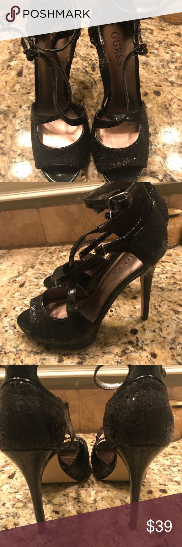 Guess Strappy Black Sequin Peep Toe