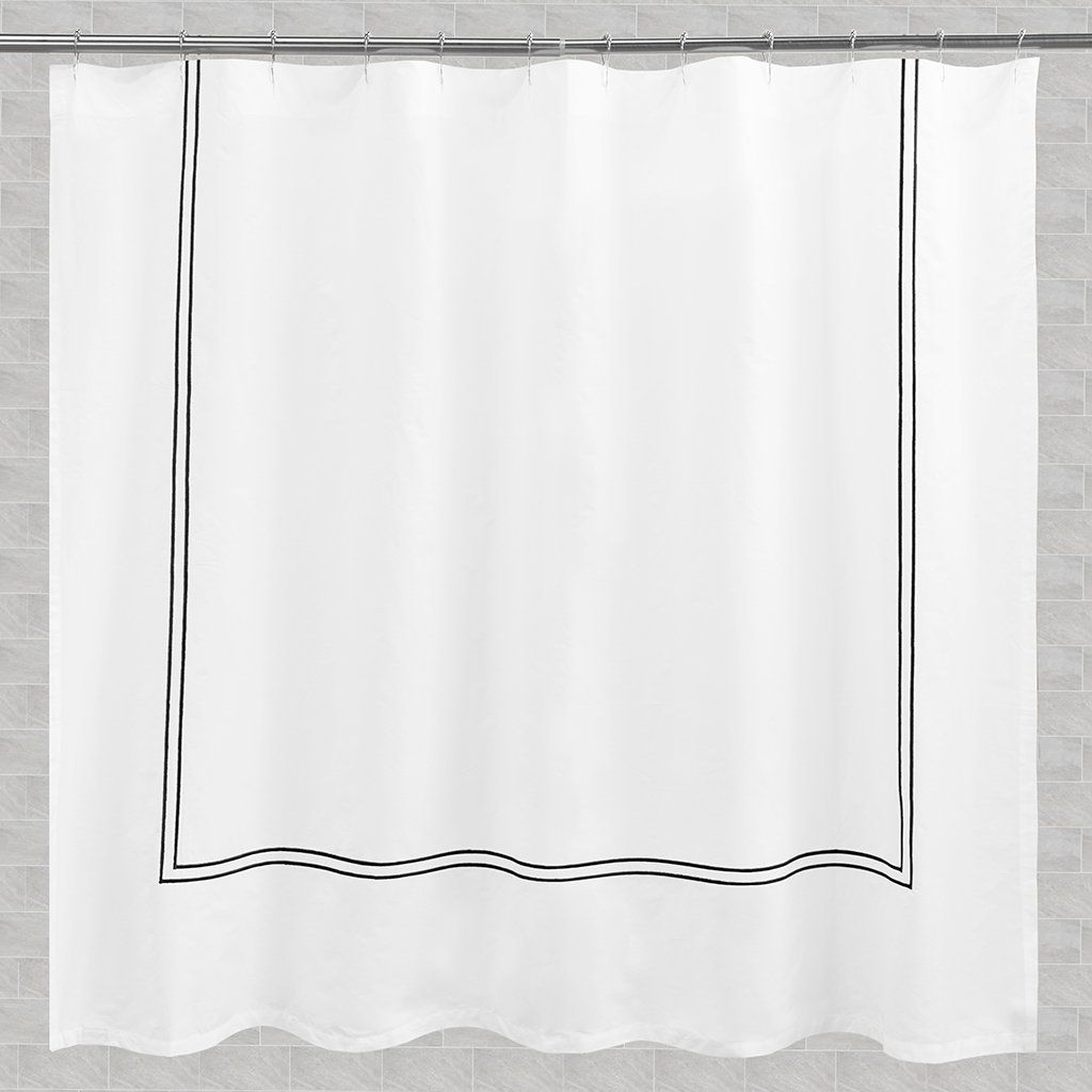 The Lines Embroidered Shower Curtain Extra Wide 108 W X 72 L