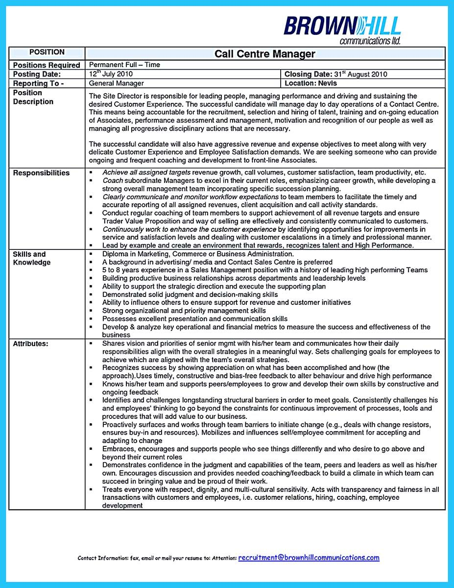 Nice Create Charming Call Center Supervisor Resume With Perfect