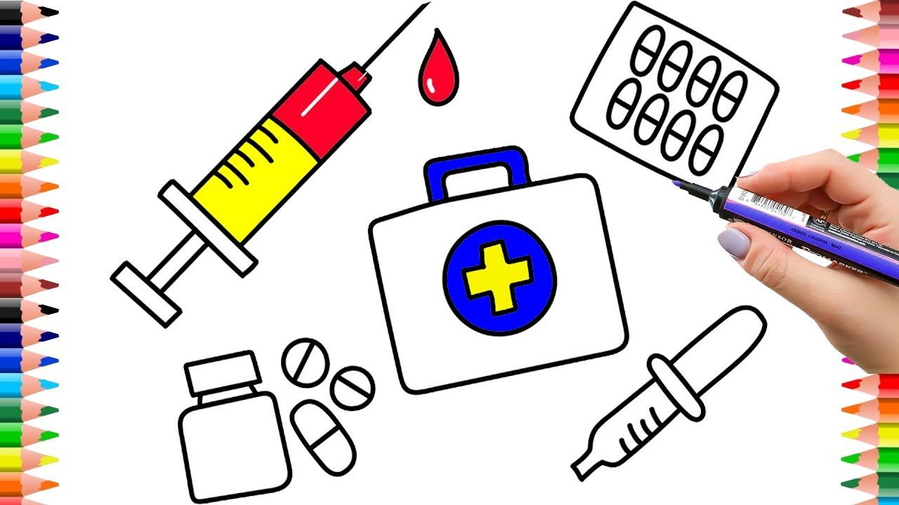 How To Draw Medical Doctor Kit For Kids Coloring Pages Medicines