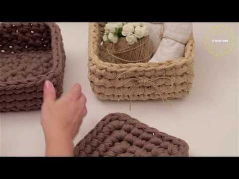 Viereckigen Korb Häkeln Textilgarn Sehr Einfach Und Schnell