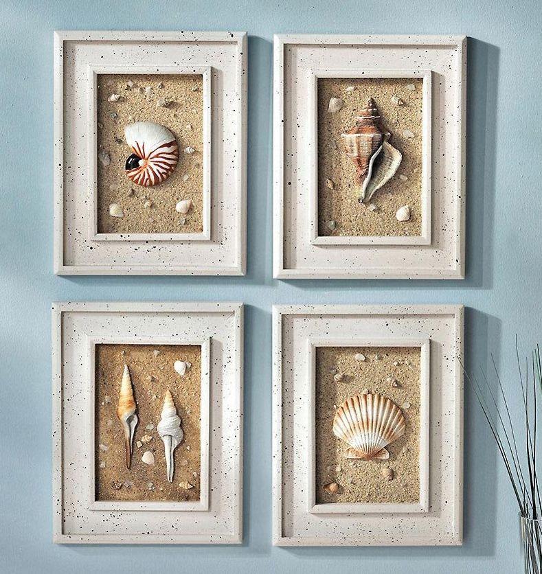 4pc Framed Seashells Coastal Beach Wall Art Seaside Lighthouse
