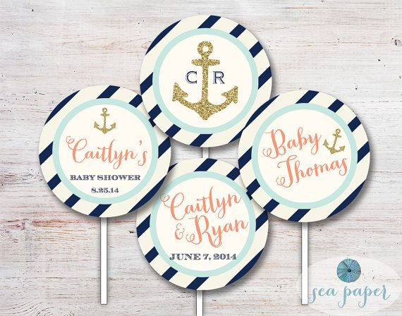 4ef8ad0b8e27 Nautical Cupcake Toppers Party Circles - Baby Shower