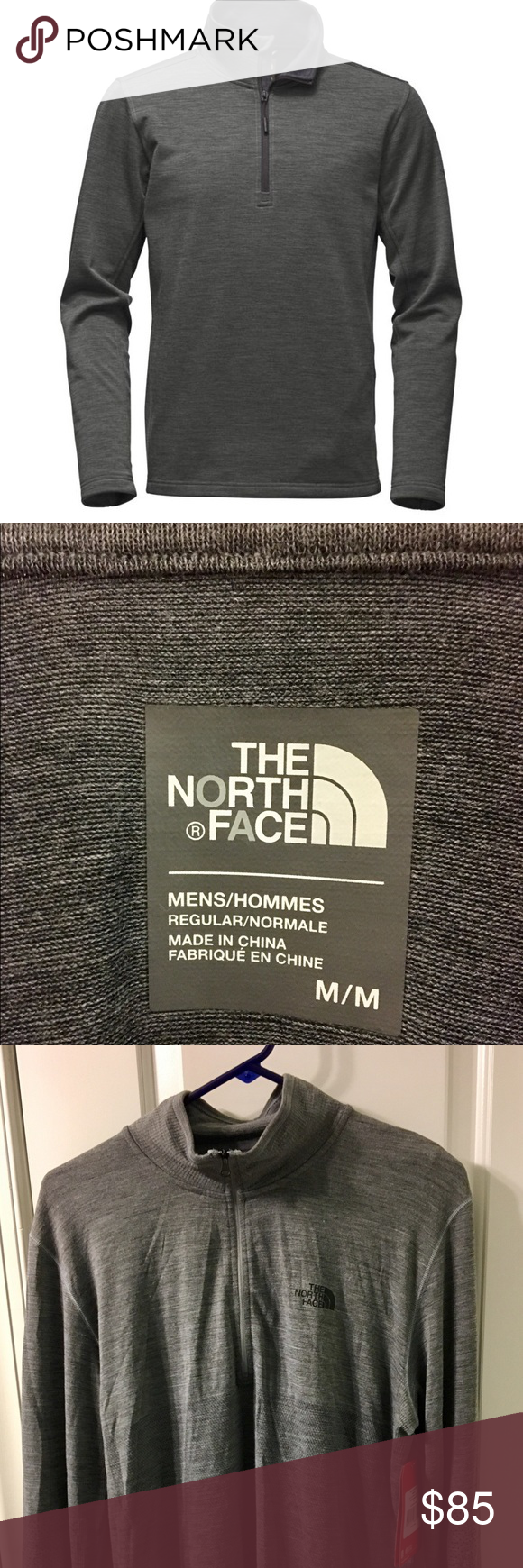 226d434b2 North Face Men's Flashdry Wool 1/4 Zip NWT | My Posh Closet ...