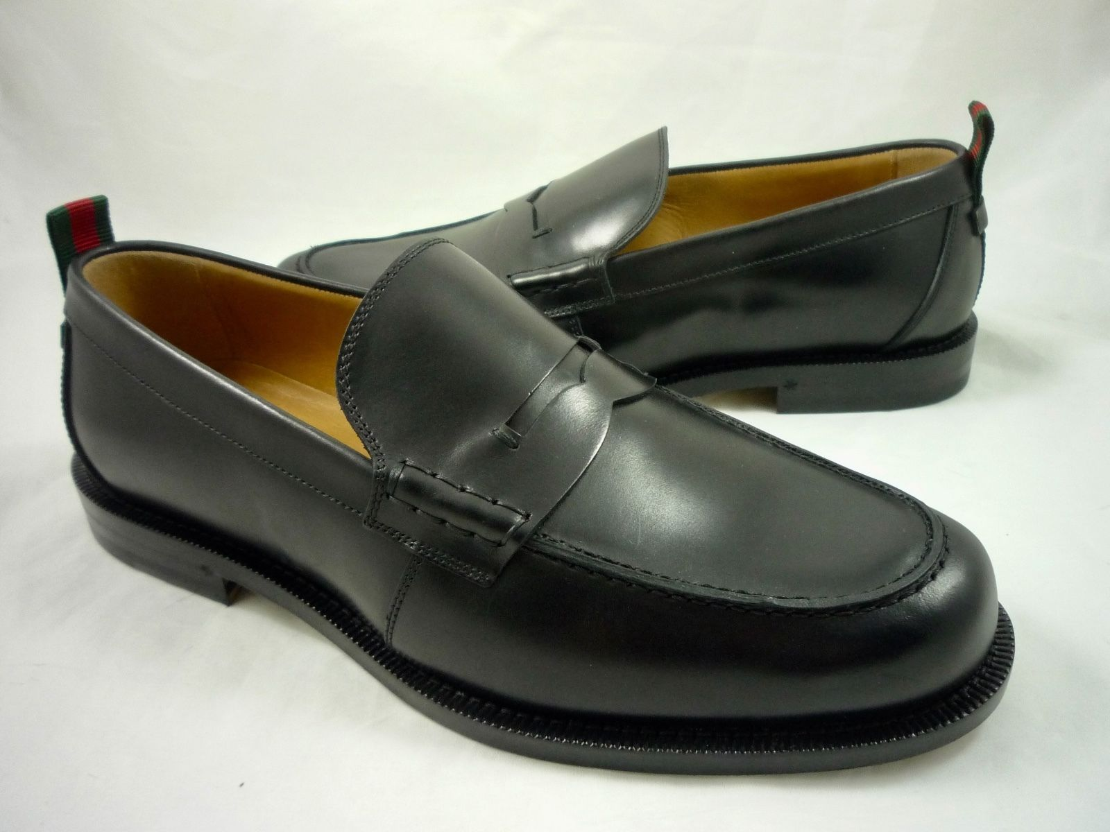 f6b40b8a413 Gucci Men s Size 9 Tobias Leather Classic Penny Loafers Shoes Black Reg   690 NEW